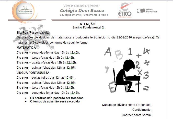 2b093b969 Horário dos plantões de Matemática e Português